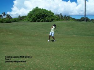 Kauai Lagoons Golf Course - Tracy on 7th fairway