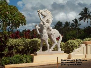 Kauai Lagoons Golf Course - I'm not sure what a horse and a nearly naked man have to do with golf, but it is striking