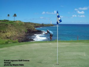George on the edge at the Kauai Lagoons Golf Club