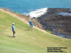Donna on the edge at the Kauai Lagoons Golf Club