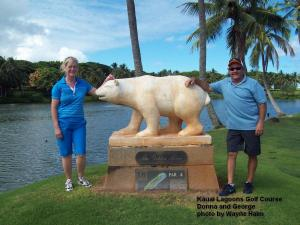 Donna and George with the Golden Bear on the Kauai Lagoons Golf Course