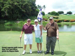 Kauai Lagoons Golf Club - 8th hole - Here are the three players in our group that did NOT put a ball in the lake.