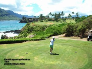 Kauai Lagoons Golf Club - Terri on 14th tee.