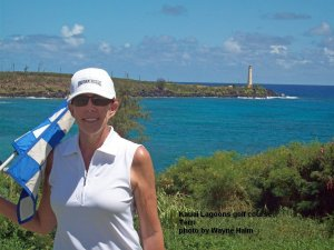Kauai Lagoons Golf Club - Terri, still smiling.