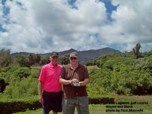 Kauai Lagoons Golf Club - 5th hole - Steve wasn't sure his ball carried the canyon - but Wayne knew they both made it across.