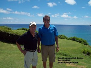 Barry and Bill on the 14th Tee - After my shot but before theirs - They were still smiling.
