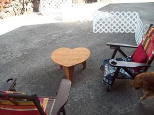 This is the table I made.  Sally bought the chairs - but yes, DIY-Wayne made the white fold up Puppy fence in the background.