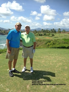 Jim and I on the 14th Tee - This is one of the places where Kauai is still growing - Today it grew by one more golf ball - mine
