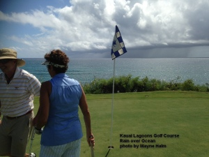 The distraction - a rain storm over the ocean - moved south of us - tough luck Poipu.