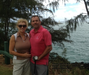 Deirdre and Dean on the 16th Tee.