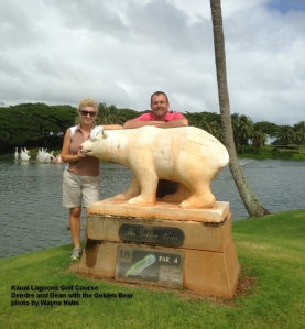 Deirdre and Dean with the Golden Bear.