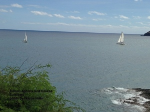 A couple of sailboats came by to watch them putt out.