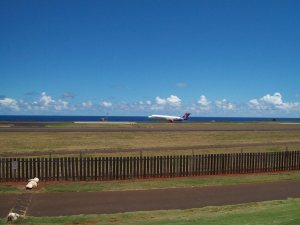 The Trade Winds cause planes to land on the runway near the course - the noisy takeoffs are done elsewhere.