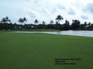 The lagoon in front of the18th green is always hungry.