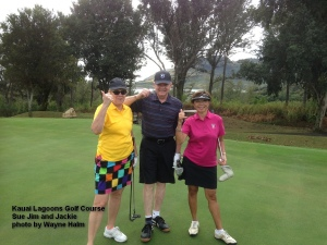 Par players o nthe fifth hole at the Kauai Lagoons Golf Course