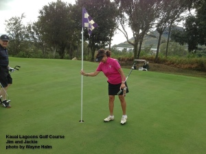 On the fifth green at the Kauai Lagoons Golf Course