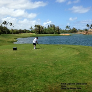 Jorge on the 17th tee - yes, we all splashed balls from here.