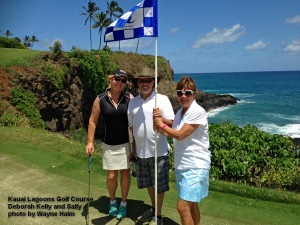 Coach with  Deborah and Kelly on the green – no birdie – but hey, never complain about par.