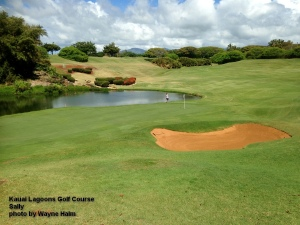 Sally on the 8th green at the Kauai Lagoons Golf Course.
