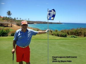 Tom on the 15th green at the Kauai Lagoons Golf Course.
