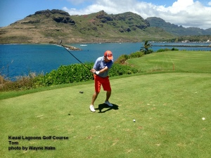 Tom on the 16th tee at the Kauai Lagoons Golf Course.