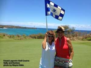 Sally and Darlene on the 16th green.