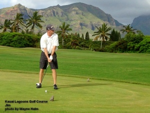 Jim on the 1st tee – looking a long way down the fairway.