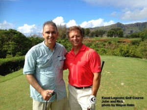 John and Rick smiling before hitting on the 5th tee.