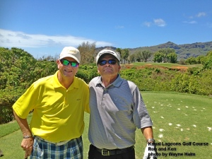 Ron and Ken on the 5th tee at Kauai Lagoons.