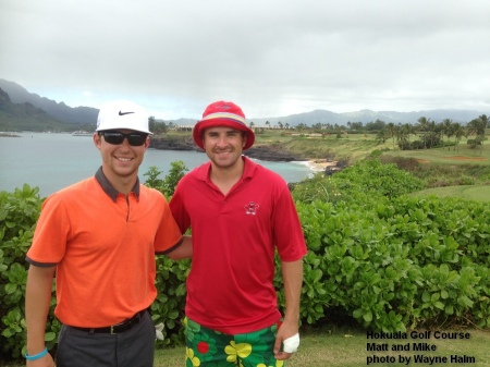 Matt and Mike on the 14th tee of the Hokuala Golf Club.c