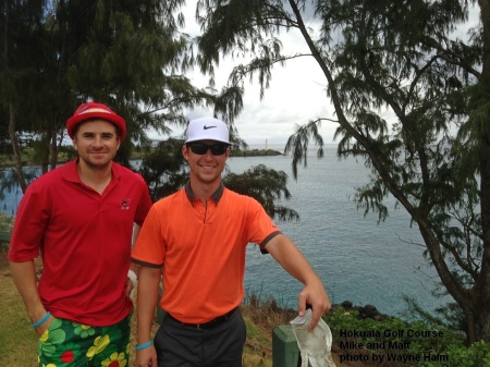 Mike and Matt on the 16th tee of the Hokuala Golf Club.