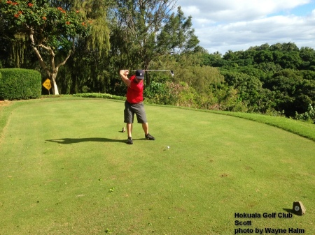 Scott on the 6th tee at the Hokuala Golf Club