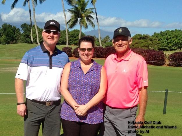 David Michelle and Wayne at the Hokuala Golf Club on Kauai