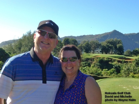 David and Michelle on the 5th tee at the Holuala Golf Club on Kauai