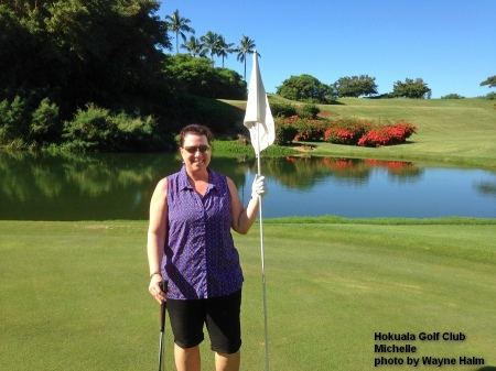Michelle on 8th green at the Hokuala Golf Club on Kauai
