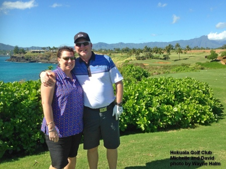 Michelle and David on the 14th tee at the Hokuala Golf Club on Kauai