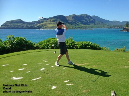 David on the 14th tee at the Hokuala Golf Club on Kauai