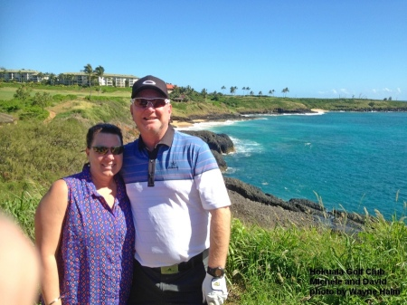 Michelle and David by the ocean at the Hokuala Golf Club on Kauai.