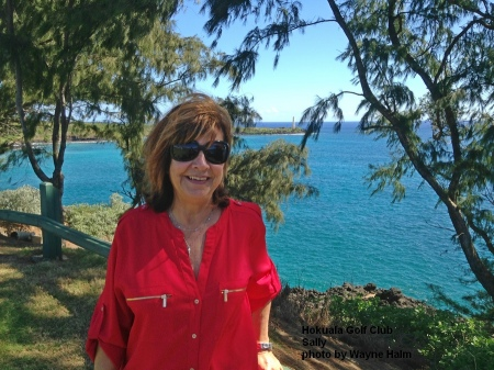 Sally in the 16th tee at the Hokuala Golf Club on Kauai.