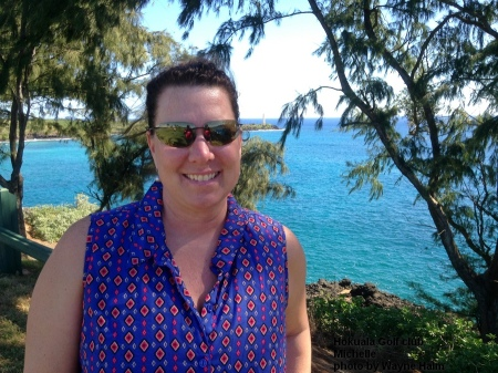 Michelle on the 16th tee at the Hokuala Golf Club on Kauai.