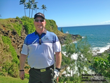 David on the 16th green at the Hokuala Golf Club on Kauai
