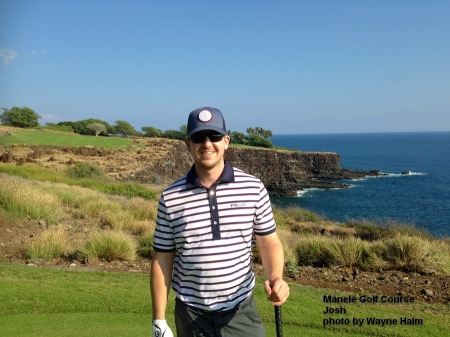 Josh on the 17th tee at the Manele Golf Course on Lanai