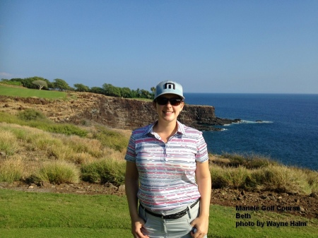 Beth on the 17th tee at the Manele Golf Course on Lanai.
