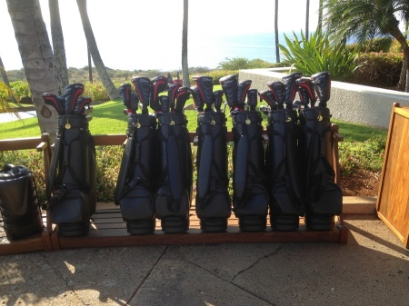 The Titleist rental clubs at the Manele Golf Course on Lanai.
