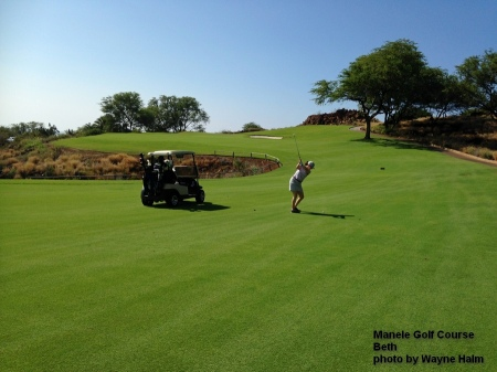 Beth on the Manele Golf Course on Lanai