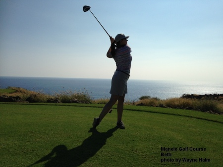 Beth on the Manele Golf Course on Lanai.