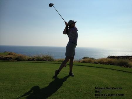 Beth on the Manele Golf Course on Lanai.