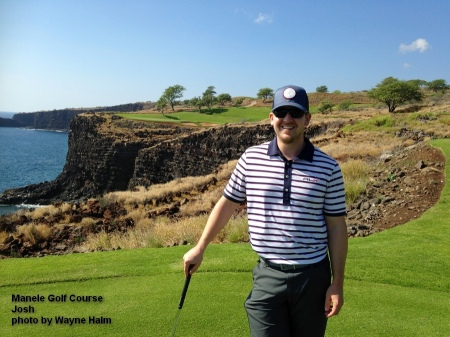 Josh on the 12th tee box of the Manele Golf Course on Lanai.