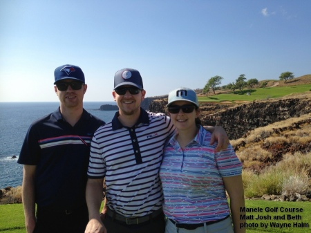 Matt, Josh, and Beth on the 12th tee box of the Manele Golf Course on Lanai.