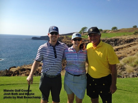 ( Josh, Beth, and Wayne on the 12th tee box of the Manele Golf Course on Lanai